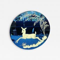 LEAPING DEER BLUE ART DECO ROUND MIRROR - 2127279