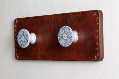 LEATHER AND CERAMIC CAPRON STYLE WALL HOOKS - 1570335