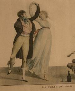 La Folie Du Jour Engraving France Circa 1797 - 1643370