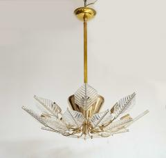 La Murrina Italian 15 Light Glass Chandelier Decorated with Leaf Motif La Murrina 1970s - 2132956