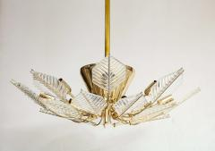 La Murrina Italian 15 Light Glass Chandelier Decorated with Leaf Motif La Murrina 1970s - 2132957