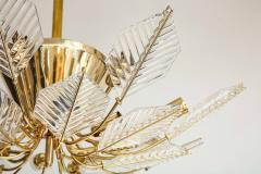 La Murrina Italian 15 Light Glass Chandelier Decorated with Leaf Motif La Murrina 1970s - 2132958