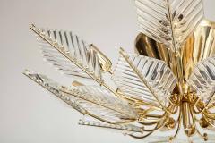 La Murrina Italian 15 Light Glass Chandelier Decorated with Leaf Motif La Murrina 1970s - 2132960