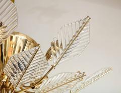 La Murrina Italian 15 Light Glass Chandelier Decorated with Leaf Motif La Murrina 1970s - 2132961