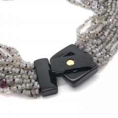 Labradorite and Multistone Multi Strand Pearl Neacklaces with Bakelite Clasp - 1209174