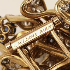 Lacloche Fr res LaCloche Paris Mid 20th Century Diamond Sapphire and Gold Flower Brooch - 1304050