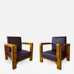 Lajos Kozma Pair of Hungarian Late Art Deco Burled Walnut and Rootwood Armchairs - 989643