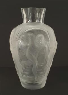 Lalique French Mid Century Les Eleens Monumental Frosted and Molded Glass Vase - 477830