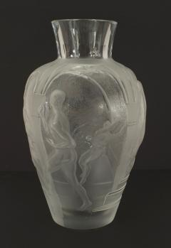 Lalique French Mid Century Les Eleens Monumental Frosted and Molded Glass Vase - 477831