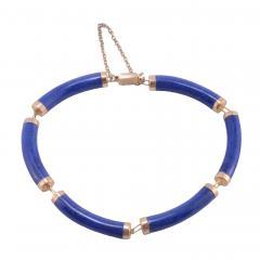 Lapis Lazuli Bar Link 14K Bracelet - 2074810