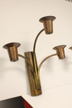 Large 1930s Brass Wall Sconces - 688558