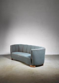 Large 1940s Danish sofa with petrol upholstery - 842173