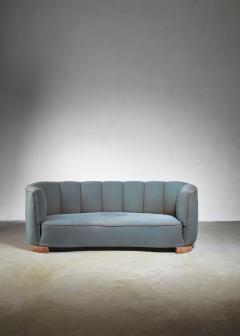 Large 1940s Danish sofa with petrol upholstery - 842174