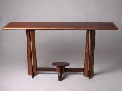 Large 1960s Brazilian brutalist console in solid wood - 1305046