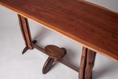 Large 1960s Brazilian brutalist console in solid wood - 1305047