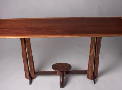 Large 1960s Brazilian brutalist console in solid wood - 1305052