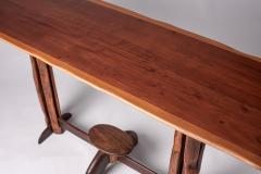 Large 1960s Brazilian brutalist console in solid wood - 1305053