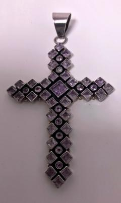 Large 1970s Vintage Sterling Silver Amethyst and Diamond Cross - 1192782