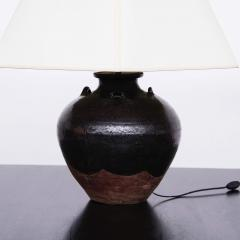 Large 19th Century Chinese Glazed Earthenware Vessel Lamp - 1687409