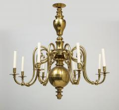Large 19th c Dutch brass chandelier - 1387209