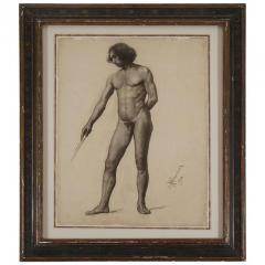 Large Academic Male Nude Charcoal on Paper Drawing 1905 - 790742