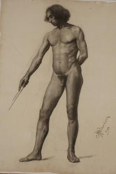 Large Academic Male Nude Charcoal on Paper Drawing 1905 - 790743