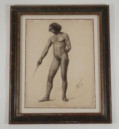 Large Academic Male Nude Charcoal on Paper Drawing 1905 - 790749