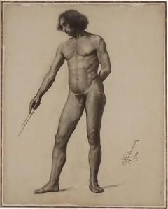 Large Academic Male Nude Charcoal on Paper Drawing 1905 - 791268