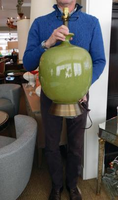 Large American 1960s Apple green Glazed Ceramic Ovoid form Lamp - 1828471