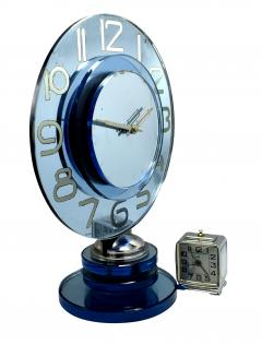 Large And Rare Model Modernist Art Deco Blue Mirror Clock Circa 1935 - 969306