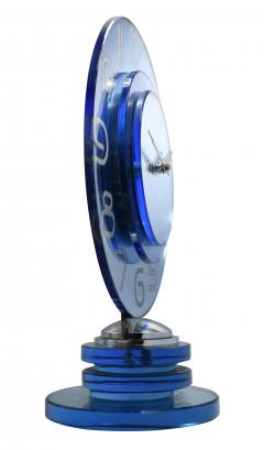 Large And Rare Model Modernist Art Deco Blue Mirror Clock Circa 1935 - 969307