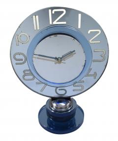 Large And Rare Model Modernist Art Deco Blue Mirror Clock Circa 1935 - 969308