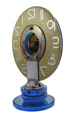Large And Rare Model Modernist Art Deco Blue Mirror Clock Circa 1935 - 969310