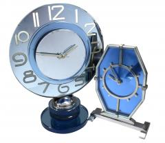 Large And Rare Model Modernist Art Deco Blue Mirror Clock Circa 1935 - 969311