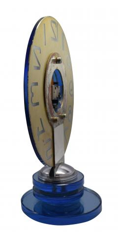 Large And Rare Model Modernist Art Deco Blue Mirror Clock Circa 1935 - 969312