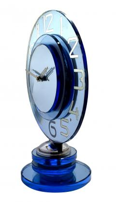 Large And Rare Model Modernist Art Deco Blue Mirror Clock Circa 1935 - 969314