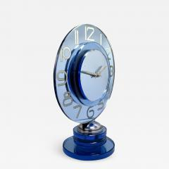 Large And Rare Model Modernist Art Deco Blue Mirror Clock Circa 1935 - 969343