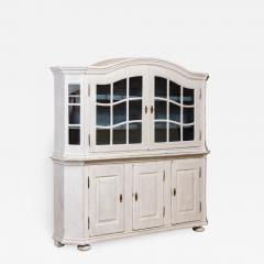 Large Antique Danish White Painted Glass Cabinet - 1003275