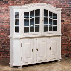 Large Antique Danish White Painted Glass Cabinet - 927628