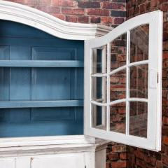 Large Antique Danish White Painted Glass Cabinet - 927629