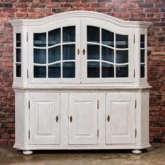 Large Antique Danish White Painted Glass Cabinet - 927631