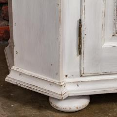 Large Antique Danish White Painted Glass Cabinet - 927632