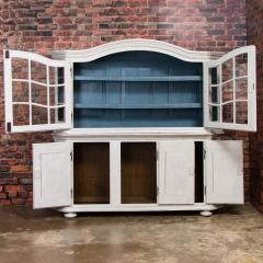 Large Antique Danish White Painted Glass Cabinet - 927633