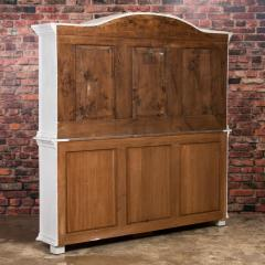 Large Antique Danish White Painted Glass Cabinet - 927635