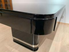 Large Art Deco Expandable Table Black Lacquer and Metal France 1930s - 1808408