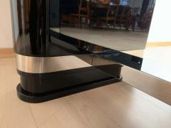 Large Art Deco Expandable Table Black Lacquer and Metal France 1930s - 1808409