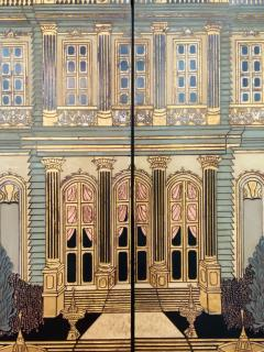 Large Art Deco Folding Screen or Room Divider by Fournier 4 Panels - 1638416