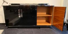 Large Art Deco Sideboard Black Lacquer and Nickel Germany circa 1930 - 1314409