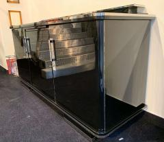 Large Art Deco Sideboard Black Lacquer and Nickel Germany circa 1930 - 1314412