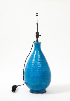 Large Blue Vintage Italian Ceramic Table Lamp circa 1960s - 1960959